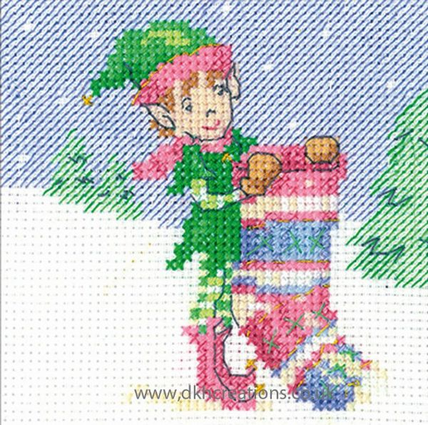 Maria Diaz Elf Stocking Christmas Greeting Card Cross Stitch Kit